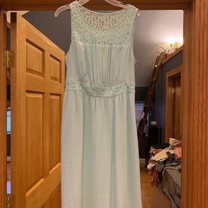 Anthropologie Teal blue lace dress